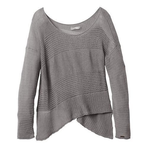 Womens Prana Liana Sweater Long Sleeve Non-Technical Tops - Silver XL