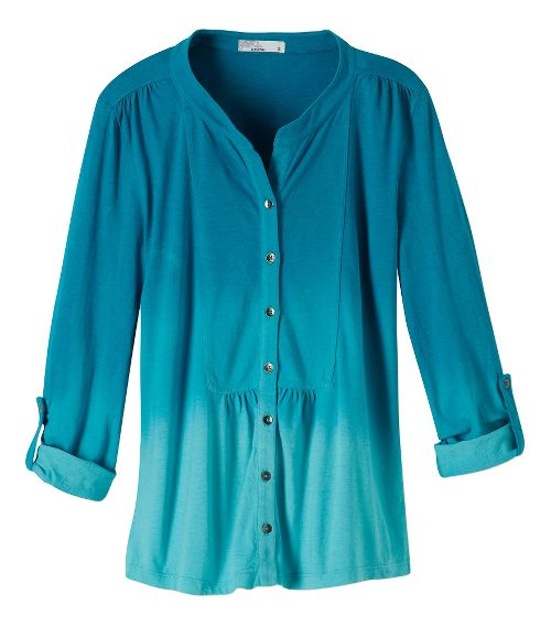 Womens Prana Amber Shirt Long Sleeve Non-Technical Tops - Tidal Teal XS