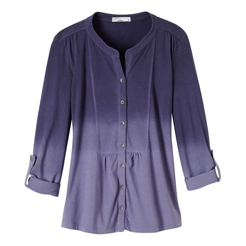 Womens Prana Amber Shirt Long Sleeve Non-Technical Tops - Purple Fog S