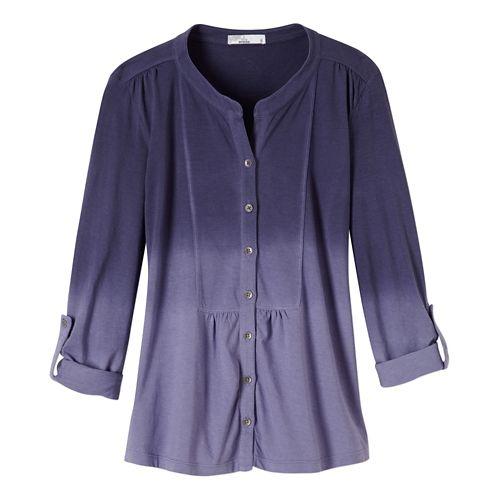 Womens Prana Amber Shirt Long Sleeve Non-Technical Tops - Purple Fog XL