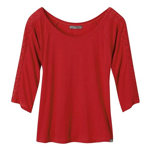 Womens Prana Alisana Long Sleeve Non-Technical Tops - Sunwashed Red M