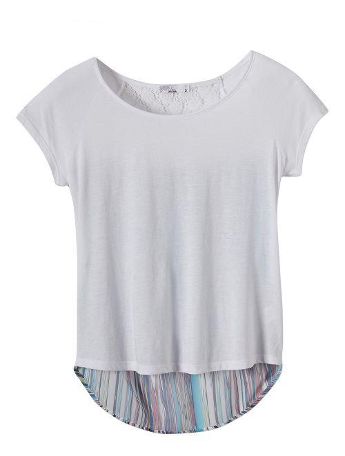 Womens Prana Dina Short Sleeve Non-Technical Tops - White M