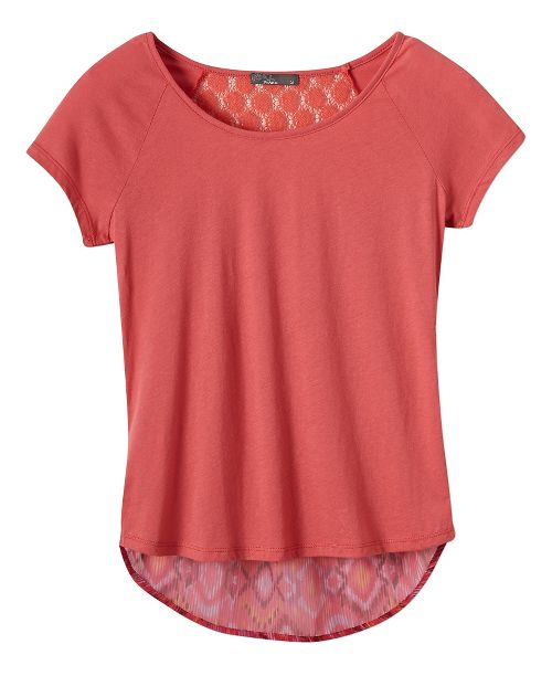 Womens Prana Dina Short Sleeve Non-Technical Tops - Red Slate L
