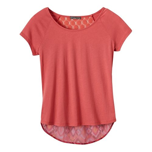 Womens Prana Dina Short Sleeve Non-Technical Tops - Red Slate S