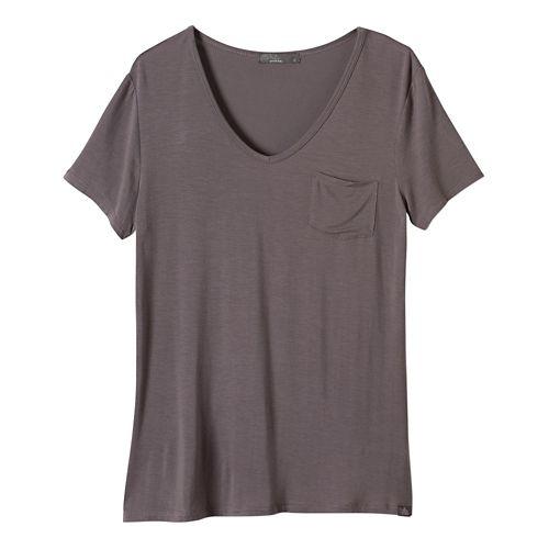 Womens Prana Hildi Short Sleeve Non-Technical Tops - Moonrock XL