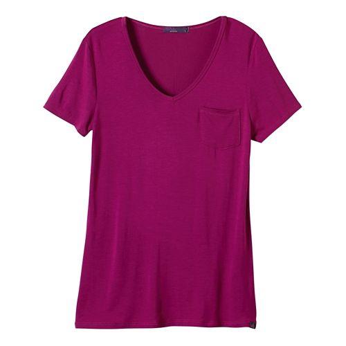 Womens Prana Hildi Short Sleeve Non-Technical Tops - Rich Fuchsia XL