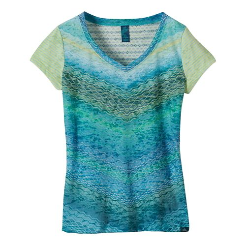 Womens Prana Hillary Short Sleeve Non-Technical Tops - Tidal Teal XS