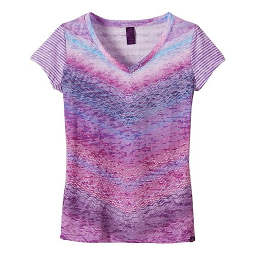 Womens Prana Hillary Short Sleeve Non-Technical Tops - Ultra Violet XL