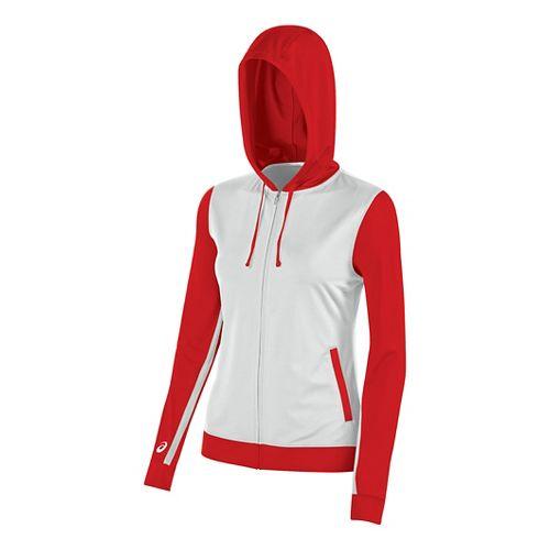 ASICS Girls JR Lani Half-Zips & Hoodies Technical Tops - White/Red YM