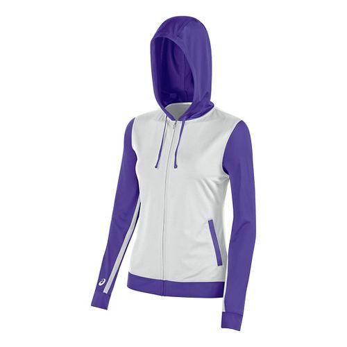 ASICS Girls JR Lani Half-Zips & Hoodies Technical Tops - White/Purple YXL