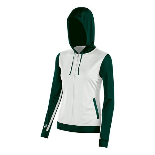 ASICS Girls JR Lani Half-Zips & Hoodies Technical Tops - White/Forest YM