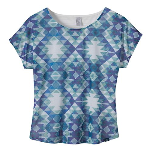Womens Prana Harlene Short Sleeve Non-Technical Tops - Blue Ridge S