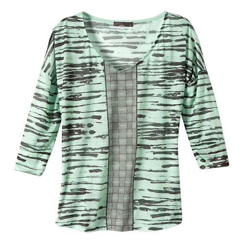 Womens Prana Aleah Long Sleeve Non-Technical Tops - Light Jade XL
