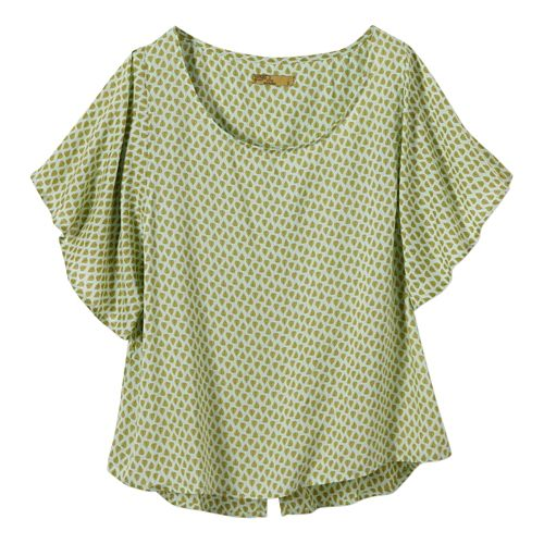 Womens Prana Emmi Short Sleeve Non-Technical Tops - Green Tint XL