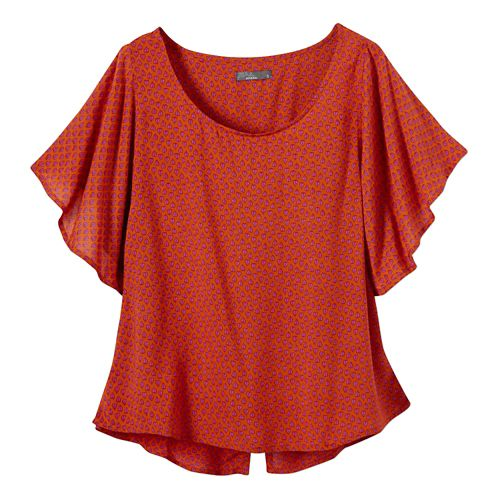 Womens Prana Emmi Short Sleeve Non-Technical Tops - Clay XS