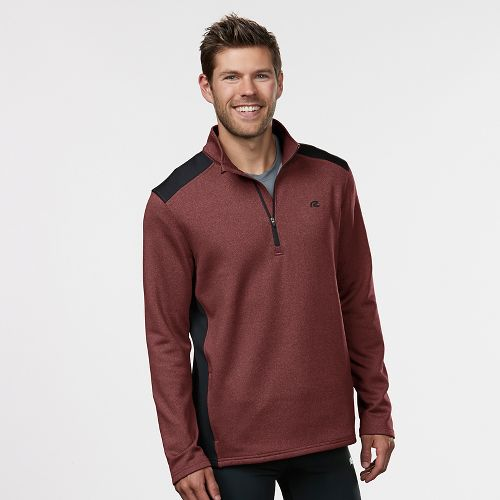 Mens R-Gear Heat Seeker Long Sleeve Half Zip Technical Tops - Heather Red Zone XXL
