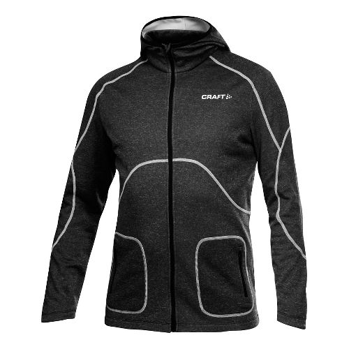 Men's Craft Active Full Zip Warm Up Hooded Jackets - Black XL