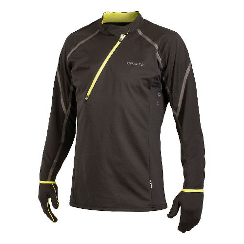Men's Craft ER Wind Jersey Long Sleeve Half Zip Technical Top - Black/Scream XS