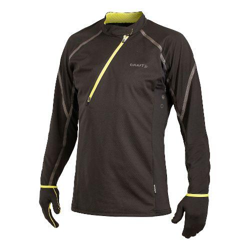 Men's Craft ER Wind Jersey Long Sleeve Half Zip Technical Top - Black/Scream XXL