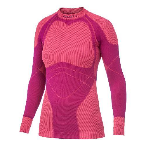 Women's Craft Warm Crewneck Long Sleeve No Zip Technical Top - Bordeaux L