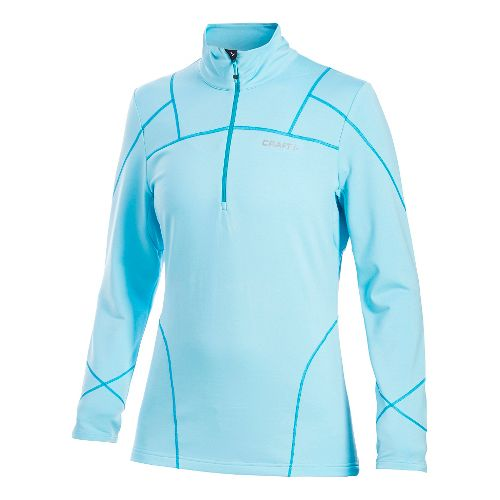 Women's Craft Thermal Stretch Pullover Long Sleeve Half Zip Technical Top - Aquamarine XXL