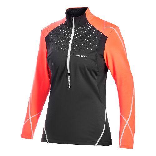 Women's Craft PR Brilliant Thermal Wind Top Long Sleeve Half Zip Technical Top - Black ...