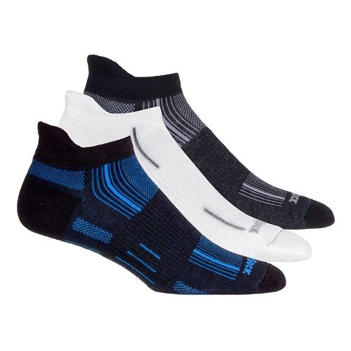 Wrightsock Stride No Show Tab 3 pack Socks - White/Electric Blue M