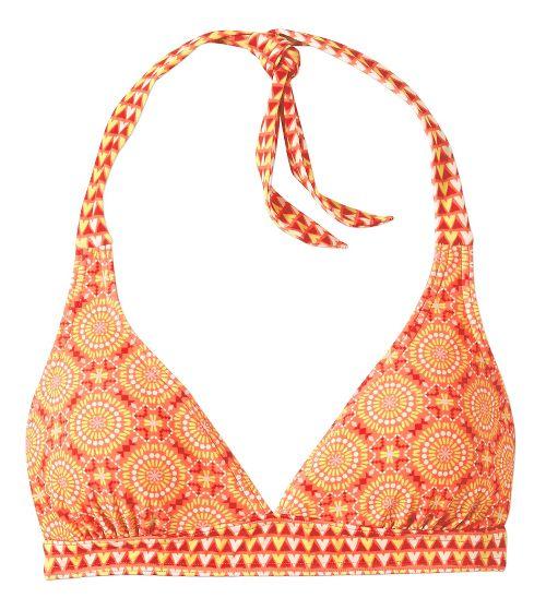 Womens Prana Lahari D-cup Halter Bra Swim - Neon Orange Sundial D
