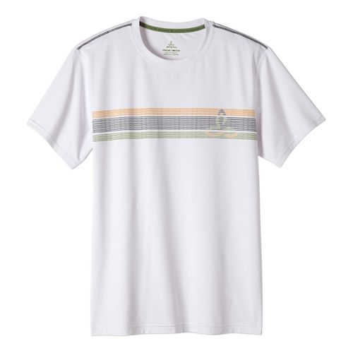 Mens prAna Calder Short Sleeve Technical Tops - White XL