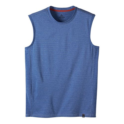 Mens prAna Ganaway Sleeveless & Tank Technical Tops - Classic Blue M