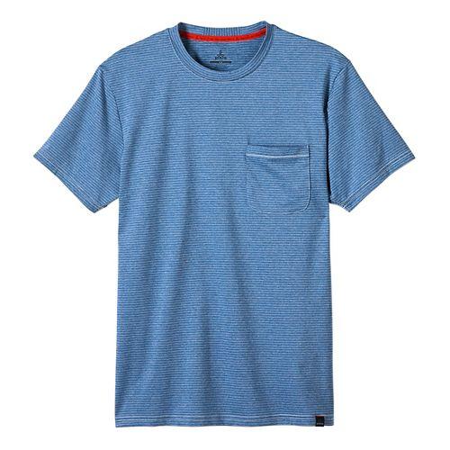 Mens prAna Ganaway Tee Short Sleeve Technical Tops - Classic Blue L