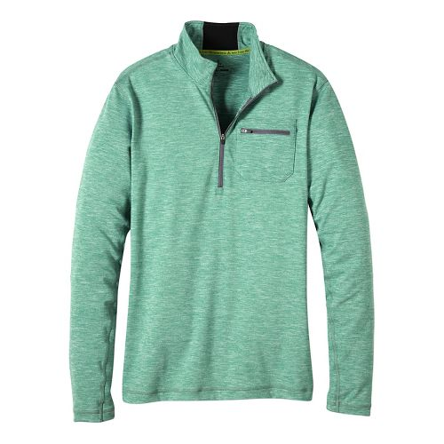 Mens prAna Zylo 1/4 Zip Long Sleeve Technical Tops - Dusty Pine XXL