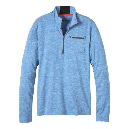 Mens prAna Zylo 1/4 Zip Long Sleeve Technical Tops - Classic Blue XL