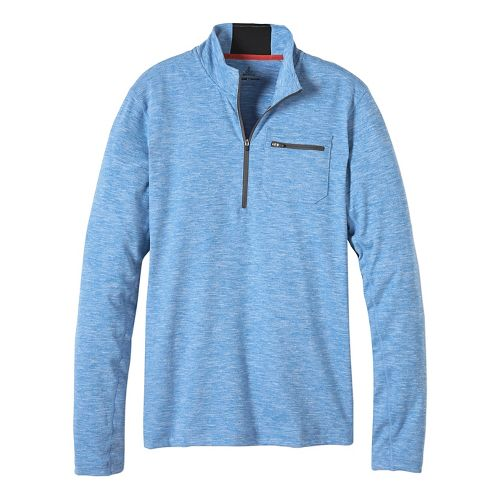 Mens prAna Zylo 1/4 Zip Long Sleeve Technical Tops - Classic Blue XXL