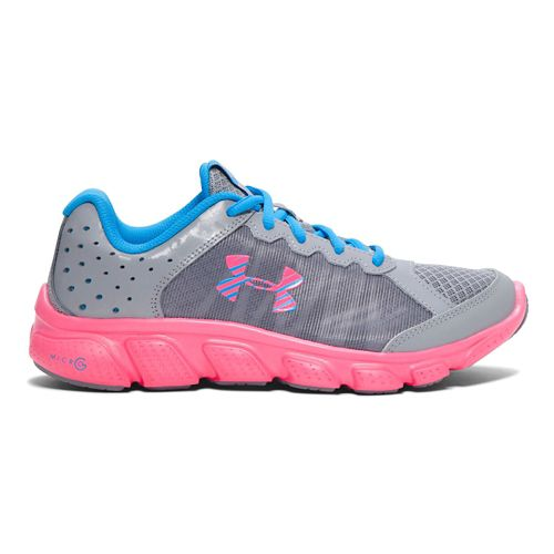 Kids Under Armour Micro G Assert 6 Running Shoe - Steel/Pink 4.5Y