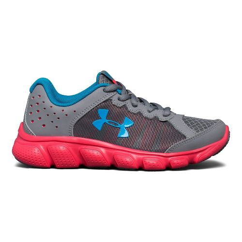 Kids Under Armour Assert 6 Running Shoe - Steel/Pink 1Y