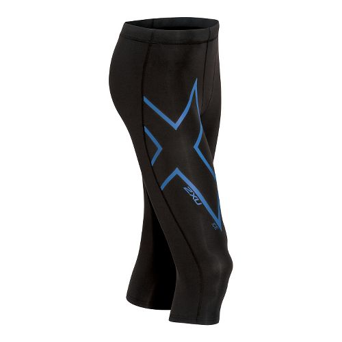 Mens 2XU ICE 3/4 Compression Tights & Leggings Pants - Black/Cool Blue S-R