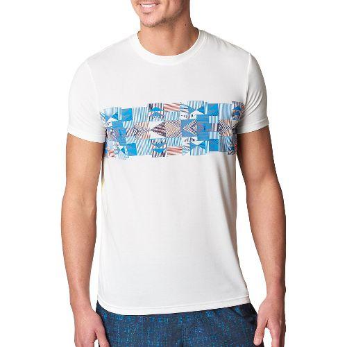 Mens prAna Printed Ridge Tech T Short Sleeve Technical Tops - White M