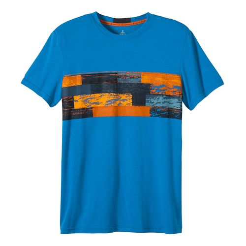 Mens prAna Printed Ridge Tech T Short Sleeve Technical Tops - Classic Blue M
