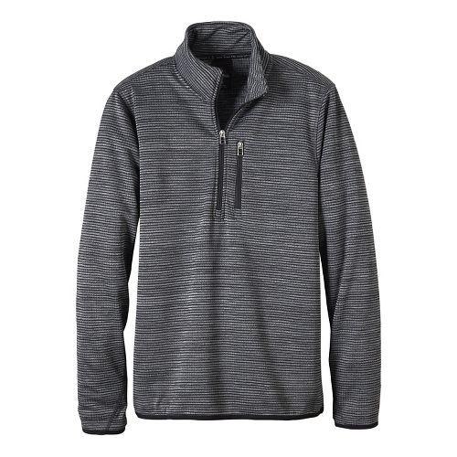 Mens prAna Gatten 1/4 Zip Long Sleeve Half Zip Non-Technical Tops - Coal XL