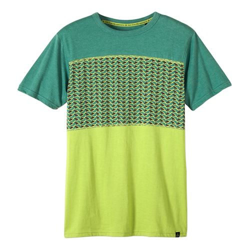 Mens prAna Throttle Colorblocked Crew Short Sleeve Non-Technical Tops - Dusty Pine L