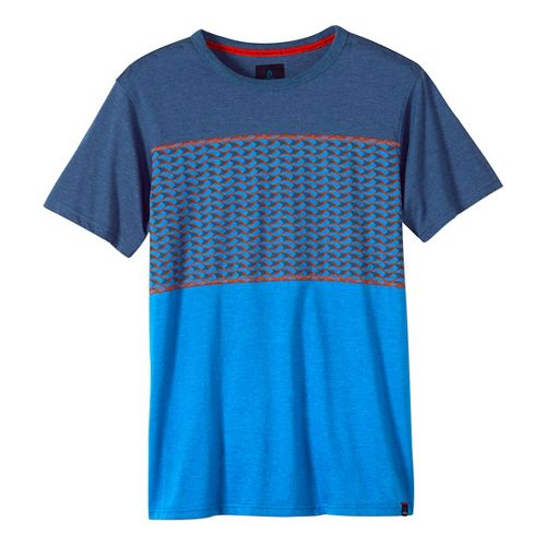Mens prAna Throttle Colorblocked Crew Short Sleeve Non-Technical Tops - Nautical L