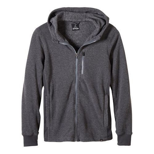 Mens prAna Drey Full Zip Casual Jackets - Coal S