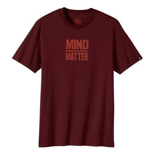 Mens prAna Mind/Matter Short Sleeve Non-Technical Tops - Brown XL