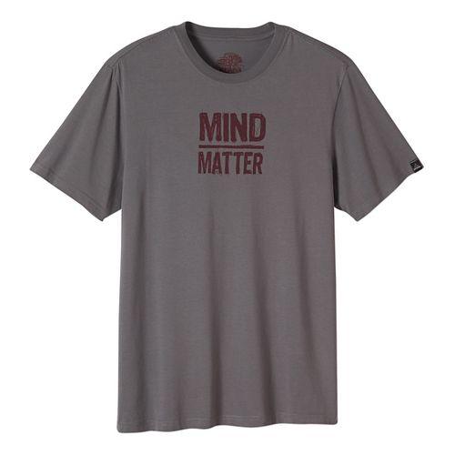 Mens prAna Mind/Matter Short Sleeve Non-Technical Tops - Brown S