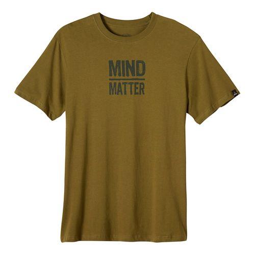 Mens prAna Mind/Matter Short Sleeve Non-Technical Tops - Saguaro M