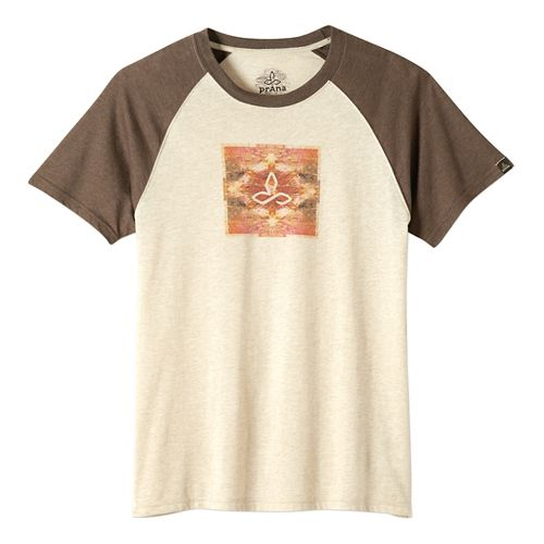 Mens prAna Red Rocks Zen Short Sleeve Non-Technical Tops - Stone L