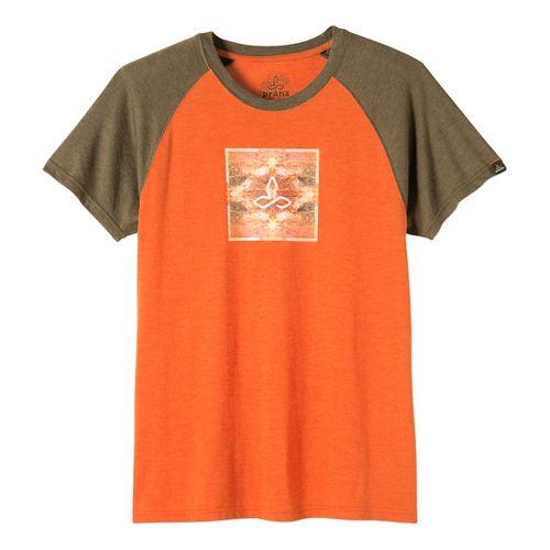 Mens prAna Red Rocks Zen Short Sleeve Non-Technical Tops - Cayenne M