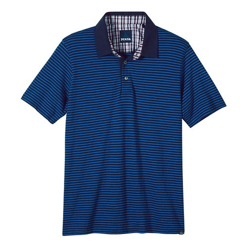 Mens prAna Shuffle Polo Short Sleeve Non-Technical Tops - Nautical S