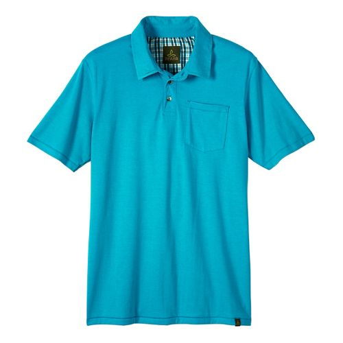 Mens prAna Marco Polo Short Sleeve Non-Technical Tops - Tidal Teal Heather M